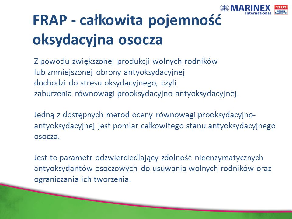 FRAP - całkowita pojemność oksydacyjna osocza