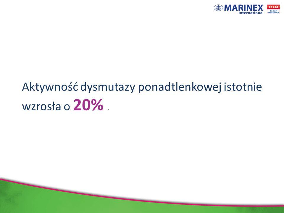 Aktywność dysmutazy ponadtlenkowej istotnie wzrosła o 20% .