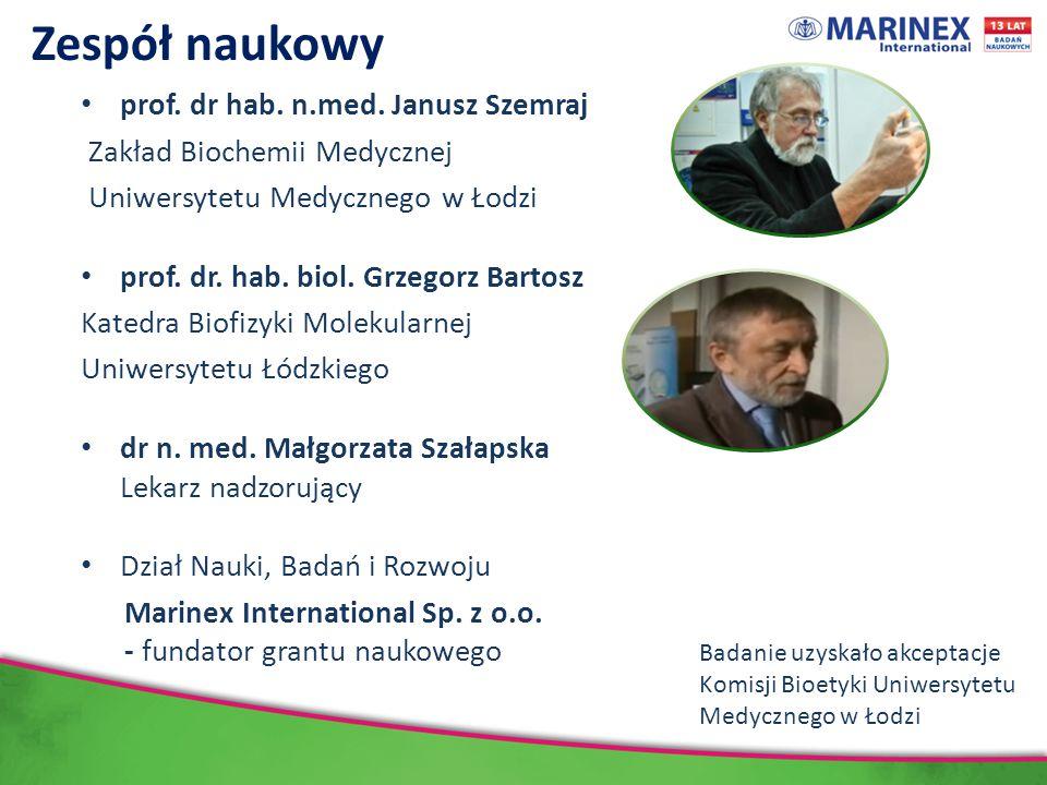 Zespół naukowy prof. dr hab. n.med. Janusz Szemraj