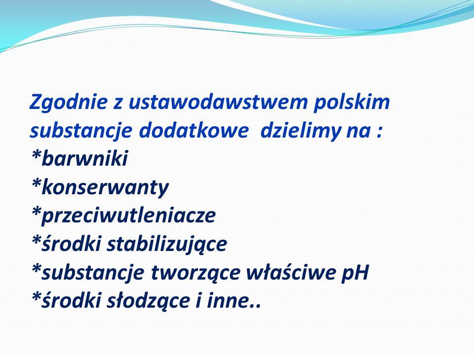 Zgodnie z ustawodawstwem polskim substancje dodatkowe dzielimy na :