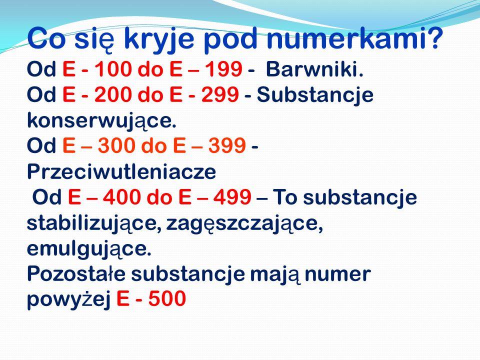 Co się kryje pod numerkami. Od E - 100 do E – 199 - Barwniki