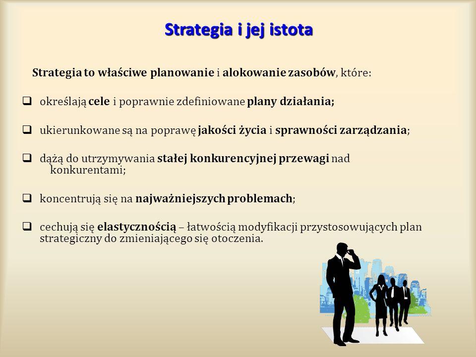 Strategia i jej istota Strategia to właściwe planowanie i alokowanie zasobów, które: określają cele i poprawnie zdefiniowane plany działania;