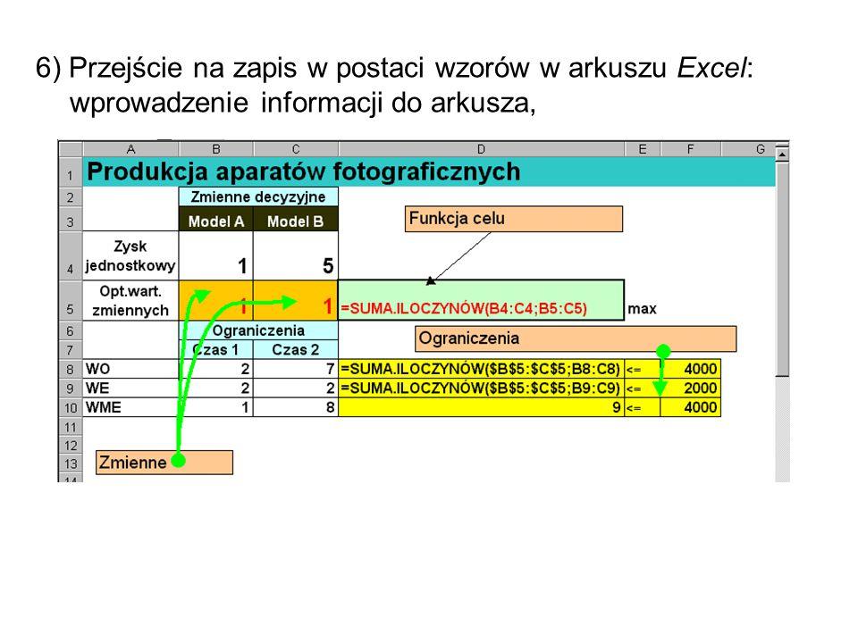 6) Przejście na zapis w postaci wzorów w arkuszu Excel: