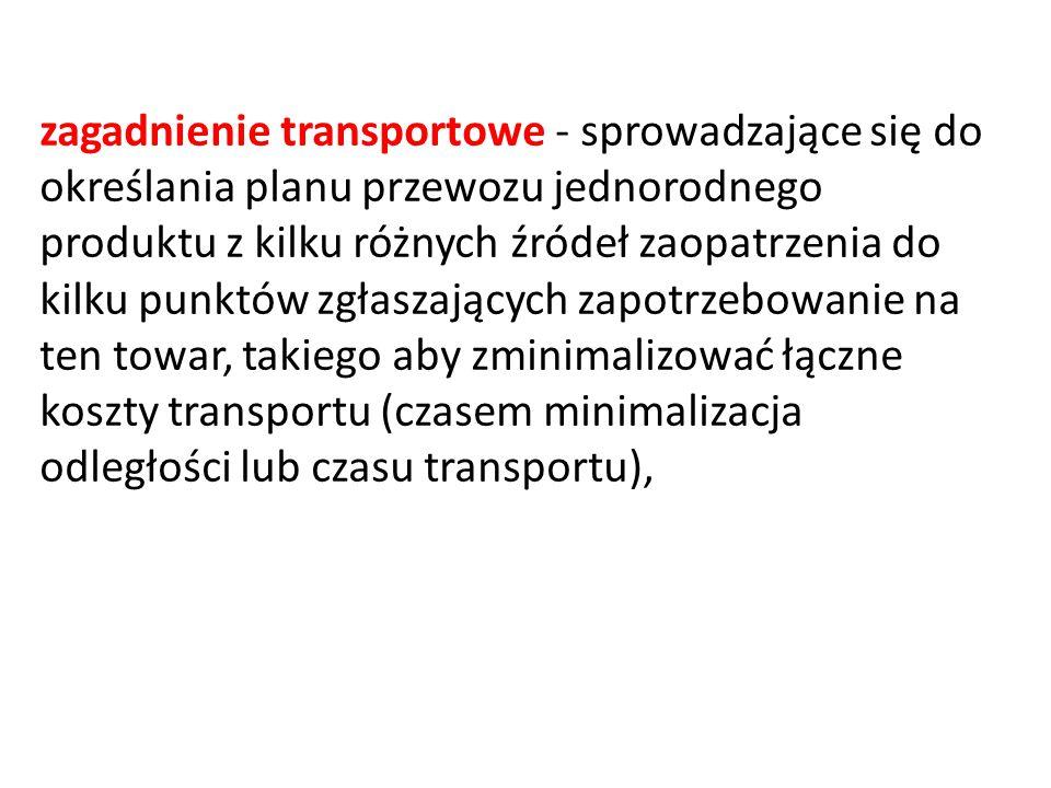 zagadnienie transportowe - sprowadzające się do określania planu przewozu jednorodnego produktu z kilku różnych źródeł zaopatrzenia do kilku punktów zgłaszających zapotrzebowanie na ten towar, takiego aby zminimalizować łączne koszty transportu (czasem minimalizacja odległości lub czasu transportu),