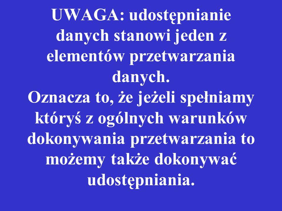 UWAGA: udostępnianie danych stanowi jeden z elementów przetwarzania danych.