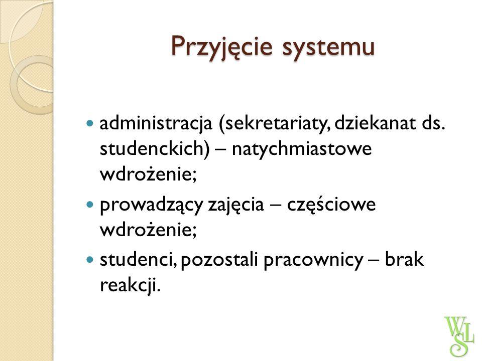 Przyjęcie systemu administracja (sekretariaty, dziekanat ds. studenckich) – natychmiastowe wdrożenie;