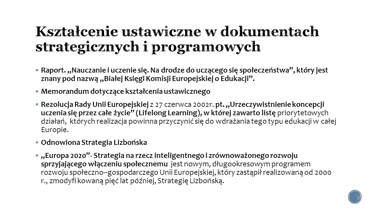 Kształcenie ustawiczne w dokumentach strategicznych i programowych