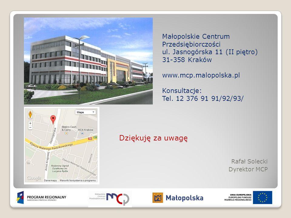 Dziękuję za uwagę Małopolskie Centrum Przedsiębiorczości