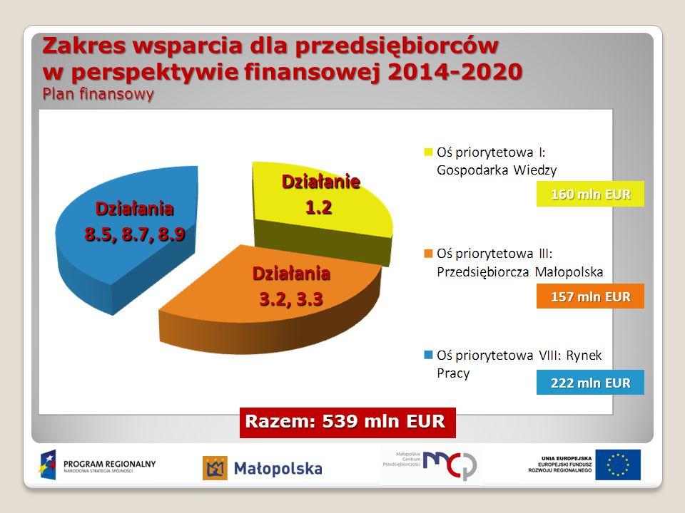 Zakres wsparcia dla przedsiębiorców w perspektywie finansowej 2014-2020 Plan finansowy