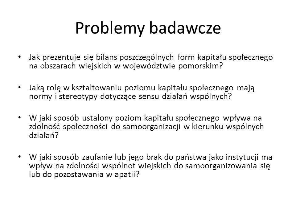Problemy badawcze Jak prezentuje się bilans poszczególnych form kapitału społecznego na obszarach wiejskich w województwie pomorskim
