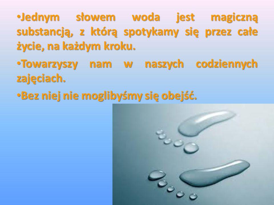 Jednym słowem woda jest magiczną substancją, z którą spotykamy się przez całe życie, na każdym kroku.