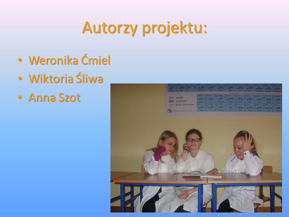 Autorzy projektu: Weronika Ćmiel Wiktoria Śliwa Anna Szot