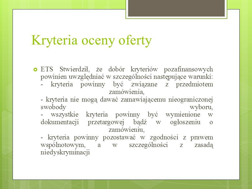 Kryteria oceny oferty