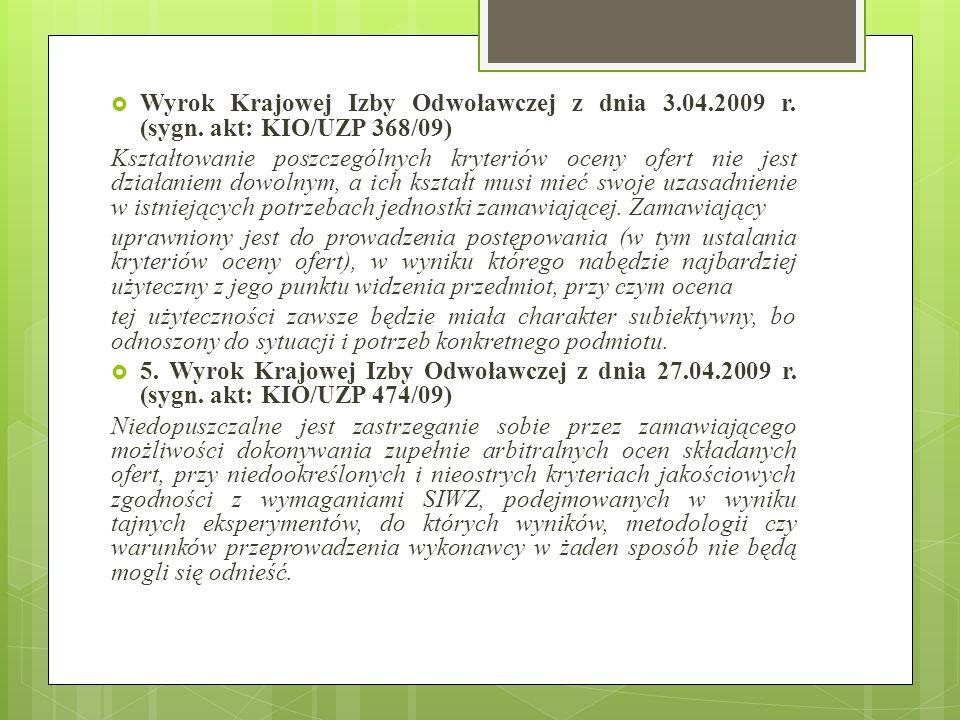 Wyrok Krajowej Izby Odwoławczej z dnia 3. 04. 2009 r. (sygn