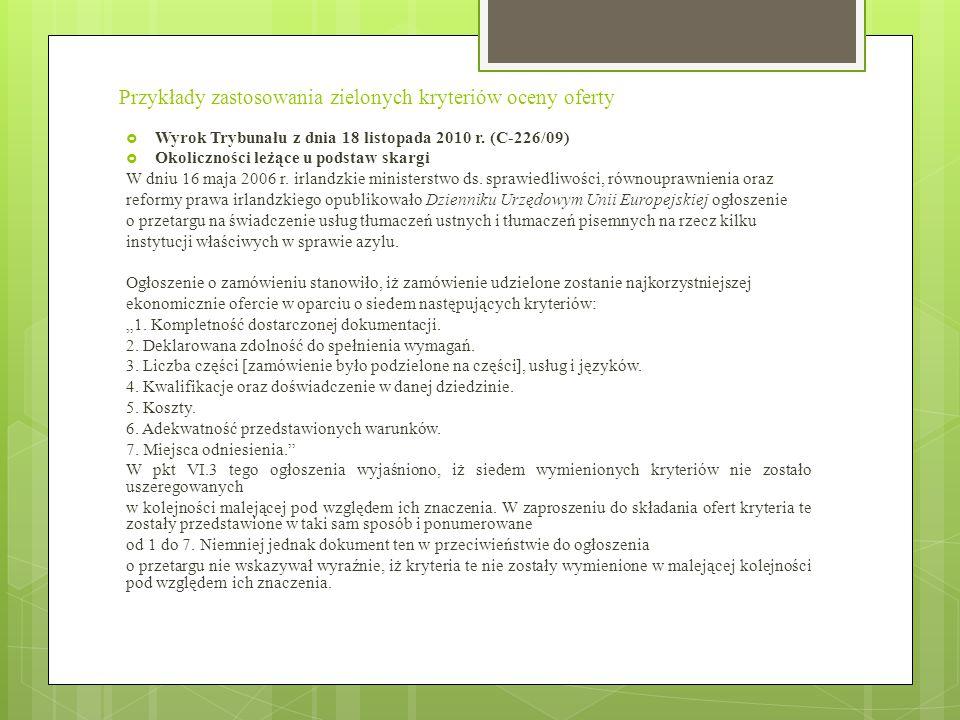 Przykłady zastosowania zielonych kryteriów oceny oferty