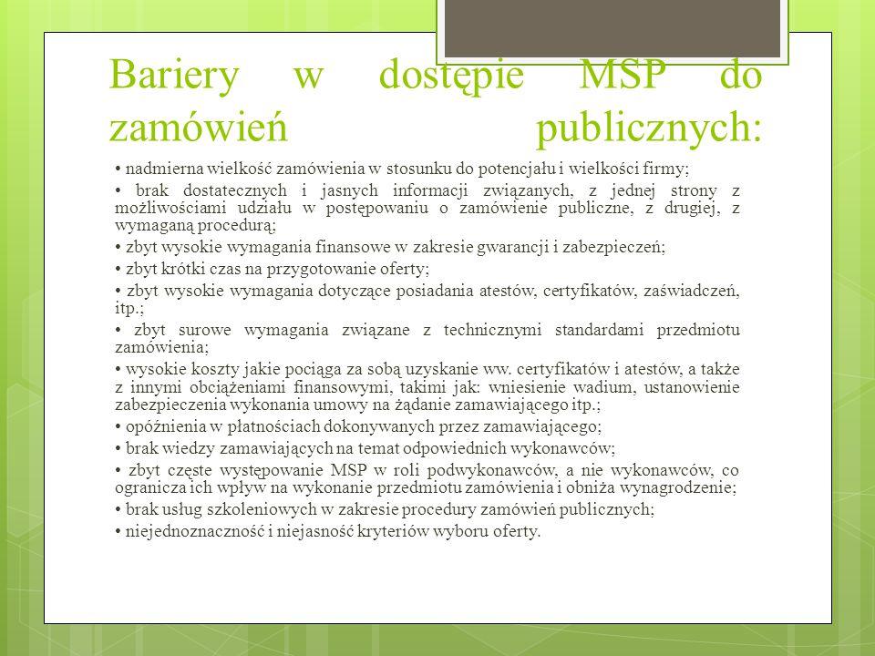 Bariery w dostępie MSP do zamówień publicznych: