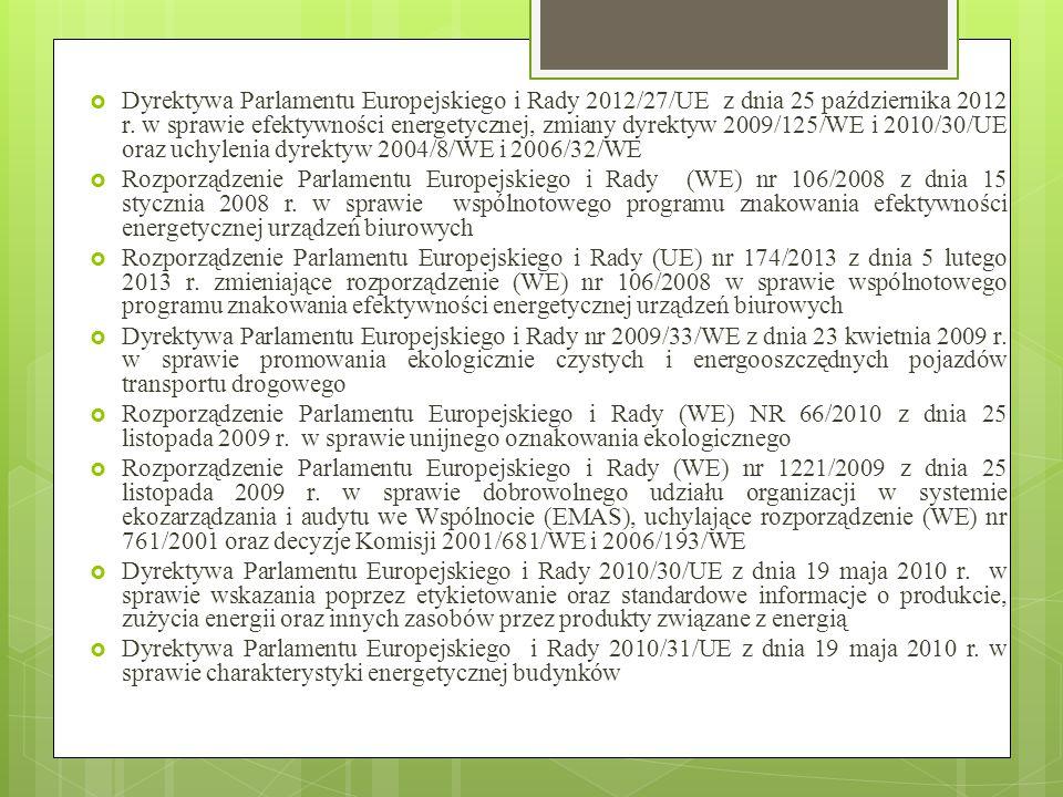 Dyrektywa Parlamentu Europejskiego i Rady 2012/27/UE z dnia 25 października 2012 r. w sprawie efektywności energetycznej, zmiany dyrektyw 2009/125/WE i 2010/30/UE oraz uchylenia dyrektyw 2004/8/WE i 2006/32/WE