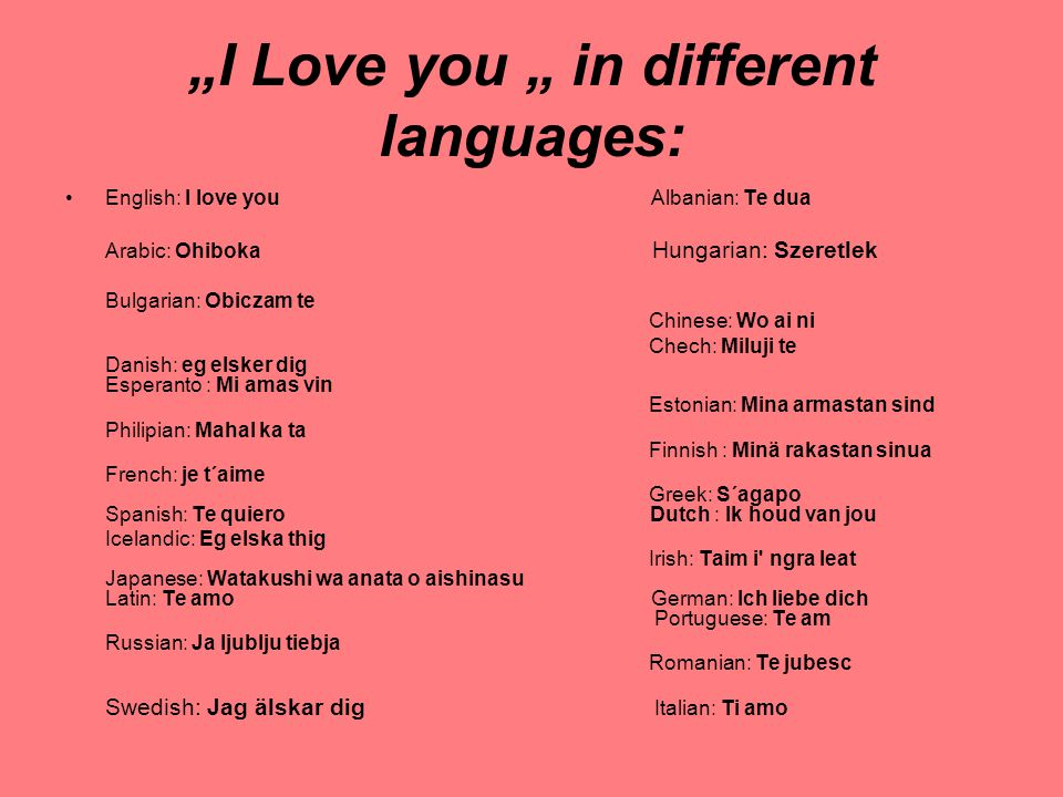 """I Love you "" in different languages:"