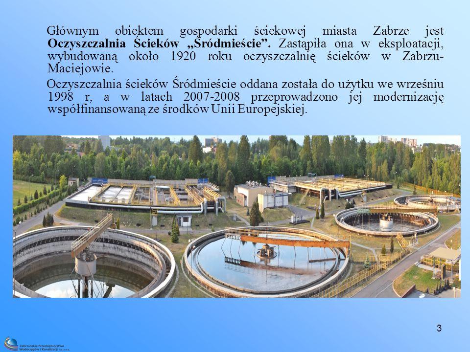 """Głównym obiektem gospodarki ściekowej miasta Zabrze jest Oczyszczalnia Ścieków """"Śródmieście . Zastąpiła ona w eksploatacji, wybudowaną około 1920 roku oczyszczalnię ścieków w Zabrzu- Maciejowie."""