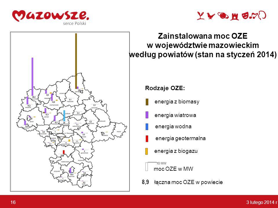 w województwie mazowieckim według powiatów (stan na styczeń 2014)