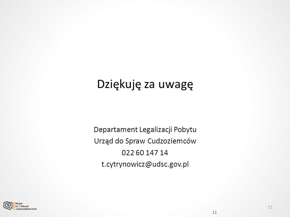 Dziękuję za uwagę Departament Legalizacji Pobytu