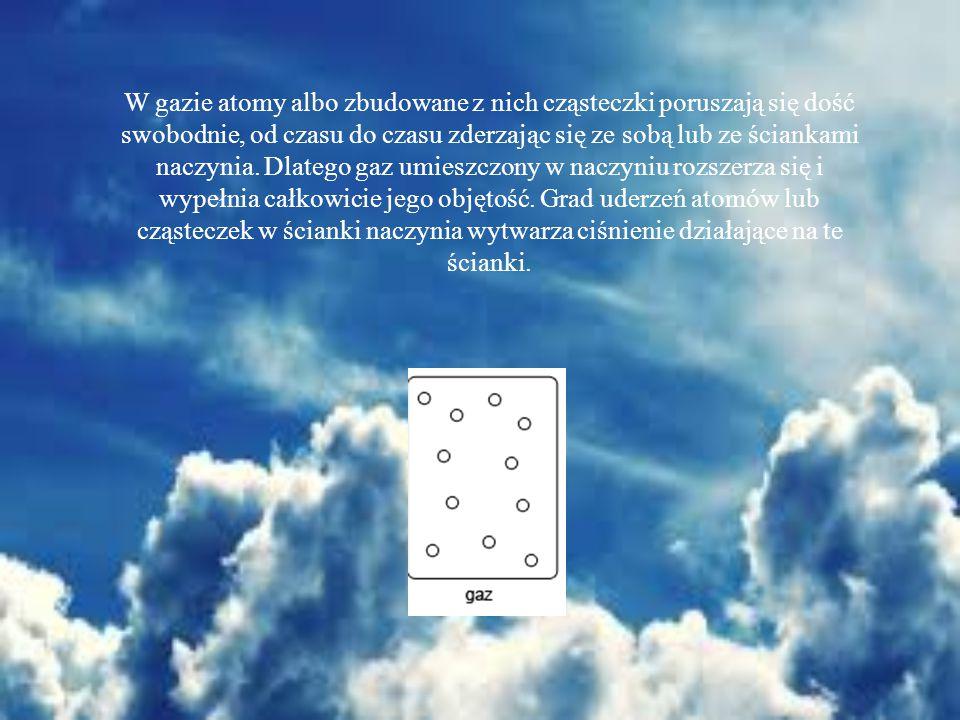 W gazie atomy albo zbudowane z nich cząsteczki poruszają się dość swobodnie, od czasu do czasu zderzając się ze sobą lub ze ściankami naczynia.