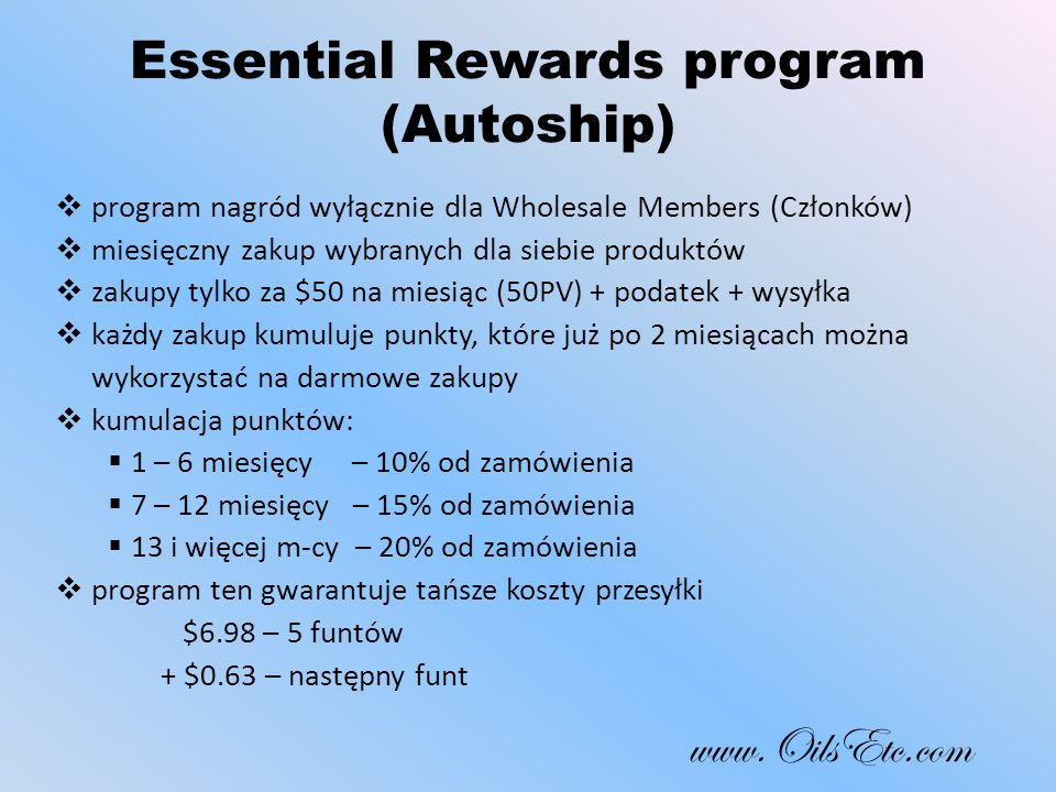 Essential Rewards program (Autoship)
