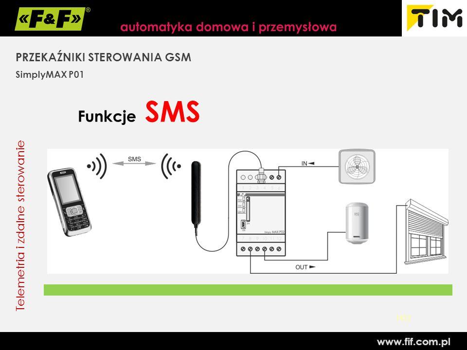 Funkcje SMS PRZEKAŹNIKI STEROWANIA GSM Telemetria i zdalne sterowanie