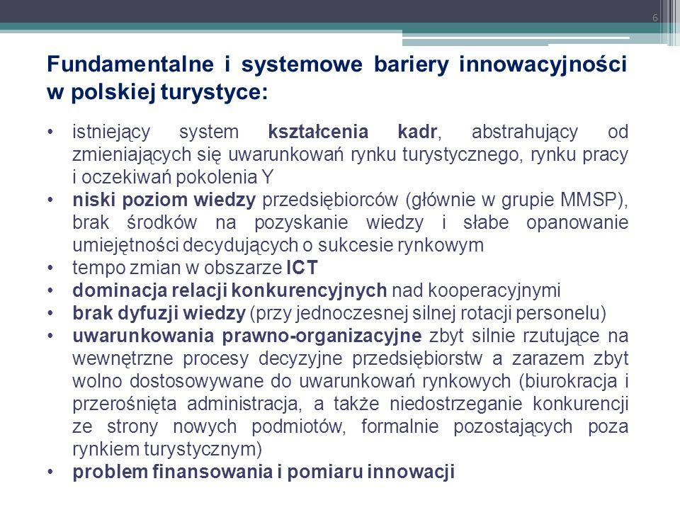 Fundamentalne i systemowe bariery innowacyjności w polskiej turystyce:
