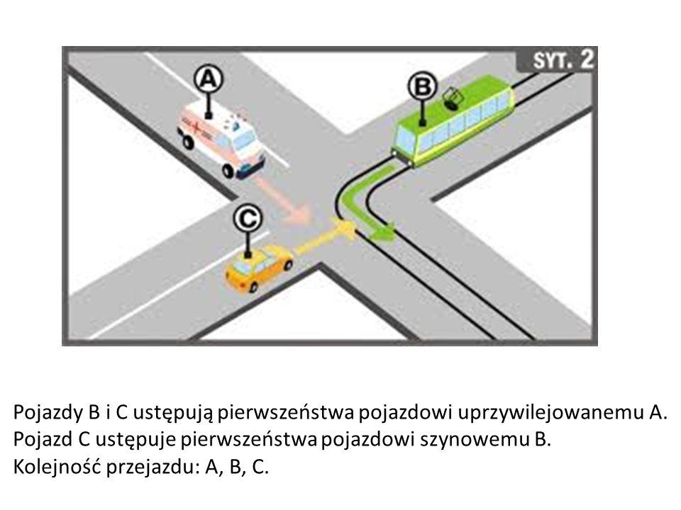 Pojazdy B i C ustępują pierwszeństwa pojazdowi uprzywilejowanemu A.