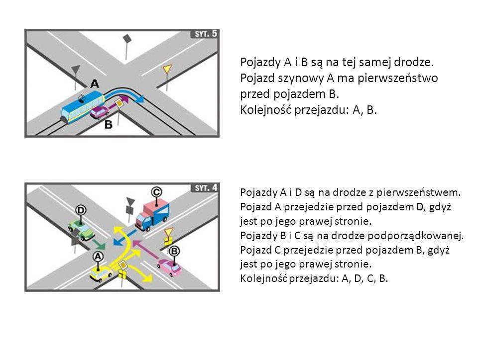 Pojazdy A i B są na tej samej drodze.