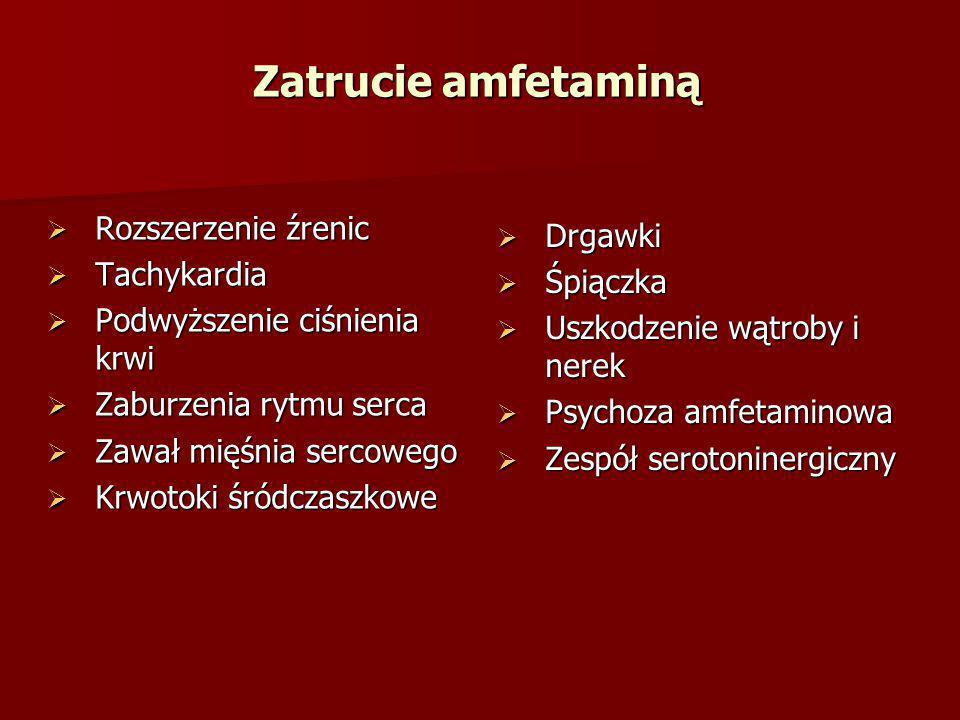 Zatrucie amfetaminą Rozszerzenie źrenic Drgawki Tachykardia Śpiączka
