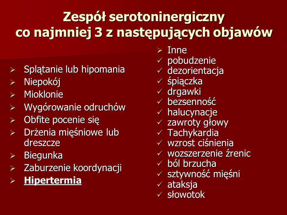 Zespół serotoninergiczny co najmniej 3 z następujących objawów