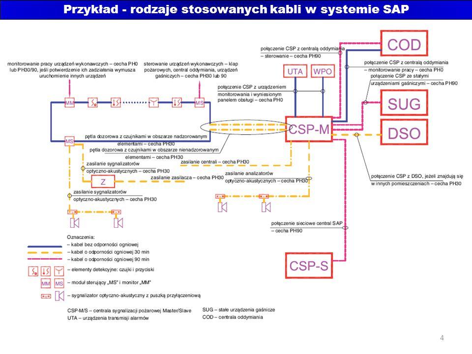 Przykład - rodzaje stosowanych kabli w systemie SAP