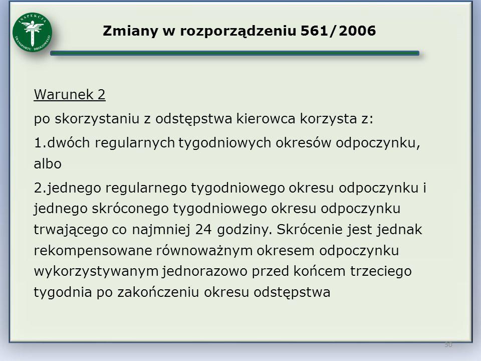 Zmiany w rozporządzeniu 561/2006