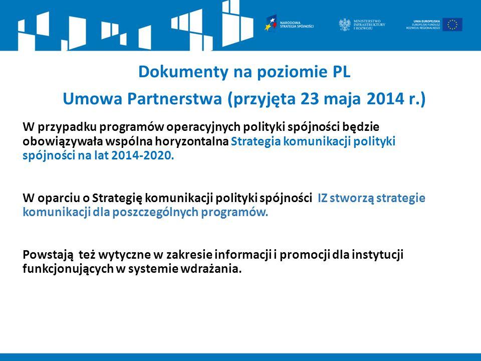 Dokumenty na poziomie PL Umowa Partnerstwa (przyjęta 23 maja 2014 r.)