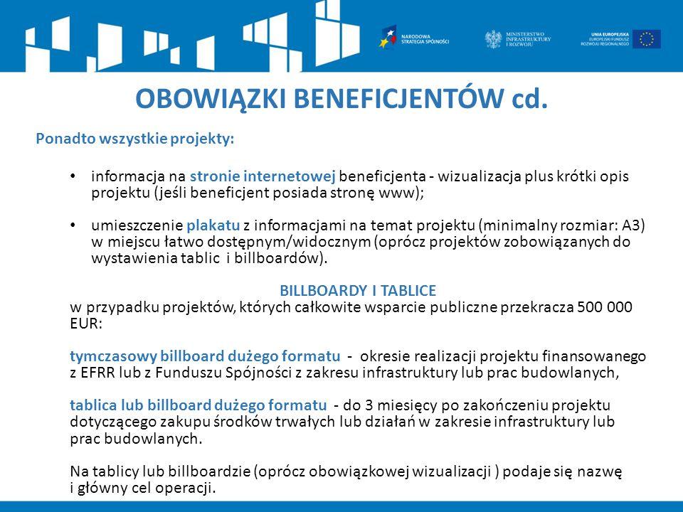 OBOWIĄZKI BENEFICJENTÓW cd.