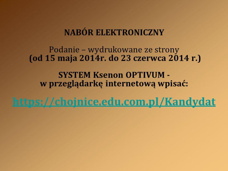 NABÓR ELEKTRONICZNY Podanie – wydrukowane ze strony (od 15 maja 2014r