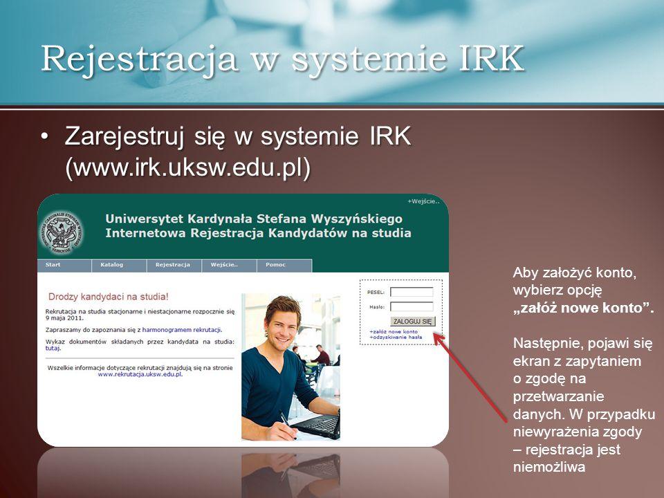 Rejestracja w systemie IRK