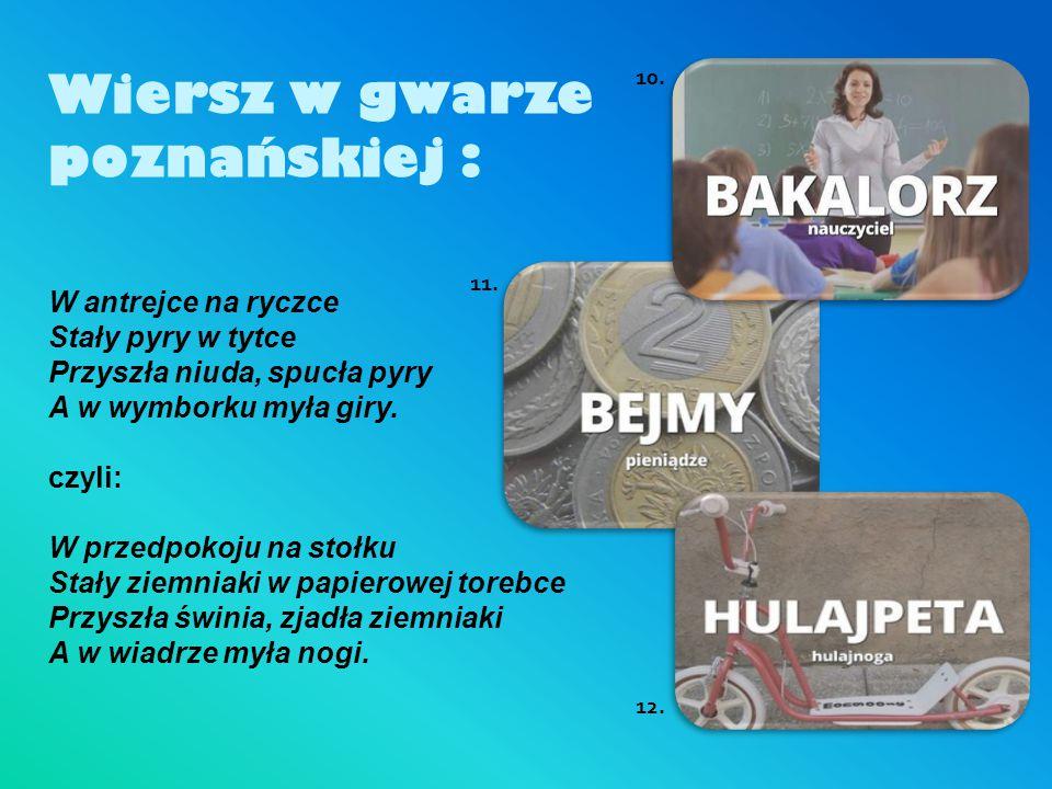 Wiersz w gwarze poznańskiej :