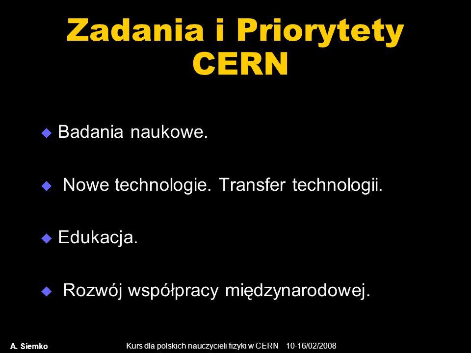 Zadania i Priorytety CERN