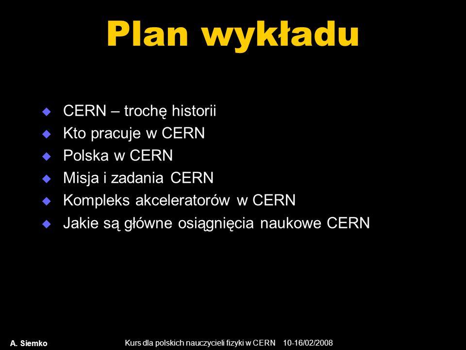 Plan wykładu CERN – trochę historii Kto pracuje w CERN Polska w CERN