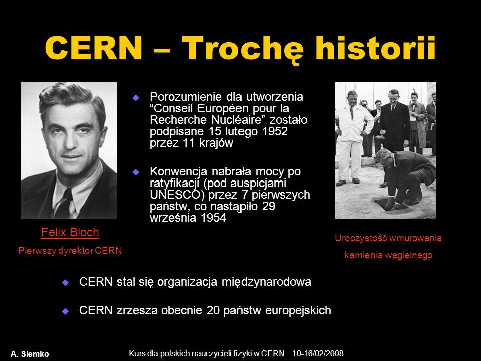 CERN – Trochę historii Porozumienie dla utworzenia Conseil Européen pour la Recherche Nucléaire zostało podpisane 15 lutego 1952 przez 11 krajów.