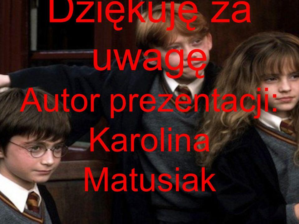 Dziękuję za uwagę Autor prezentacji: Karolina Matusiak