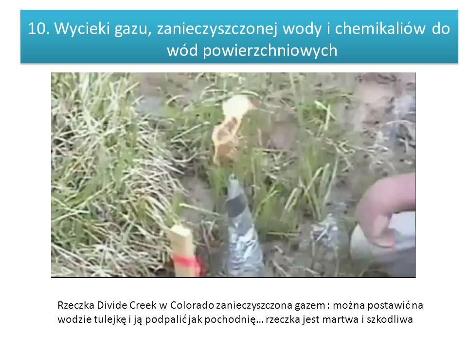 Wycieki gazu, zanieczyszczonej wody i chemikaliów do wód powierzchniowych