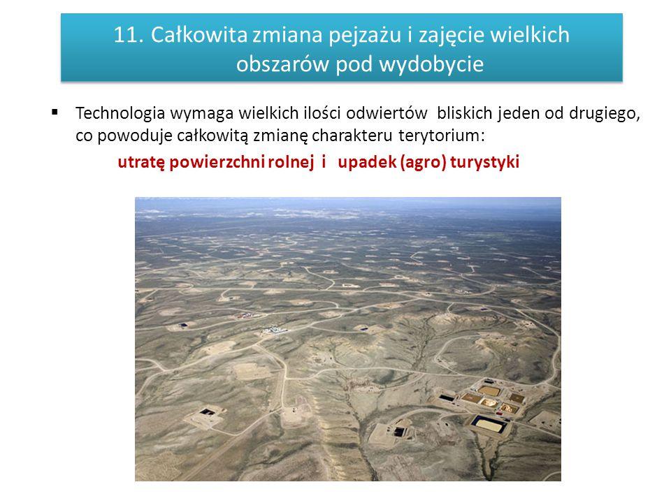 Całkowita zmiana pejzażu i zajęcie wielkich obszarów pod wydobycie