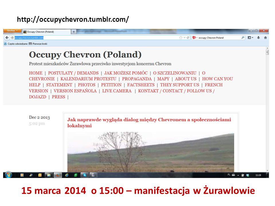 15 marca 2014 o 15:00 – manifestacja w Żurawlowie