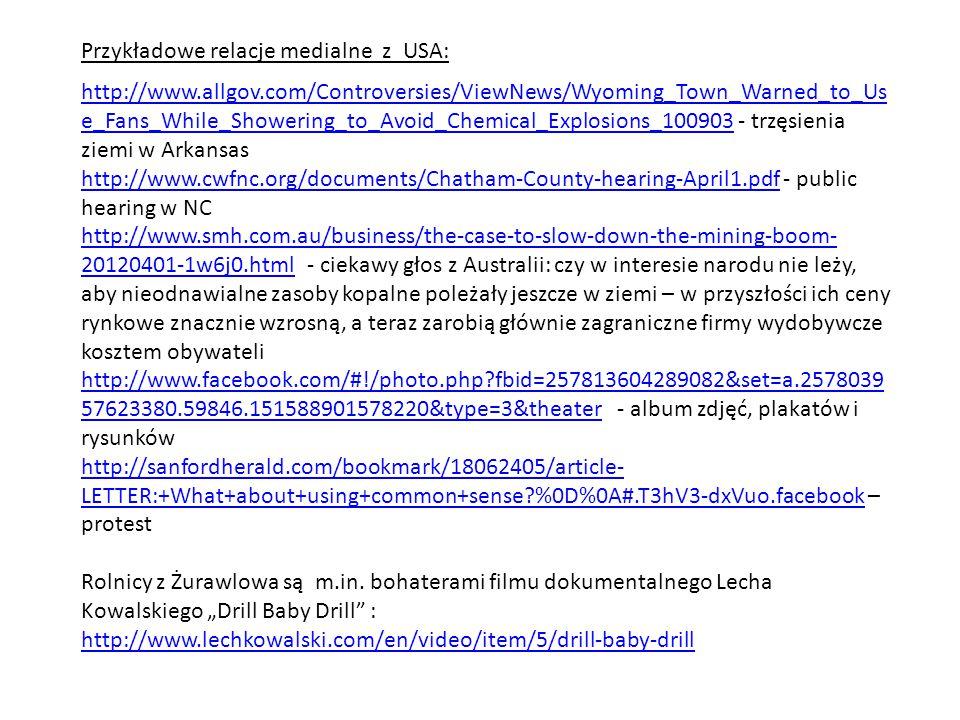 Przykładowe relacje medialne z USA: