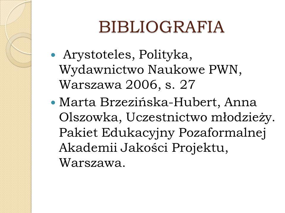 BIBLIOGRAFIA Arystoteles, Polityka, Wydawnictwo Naukowe PWN, Warszawa 2006, s. 27.