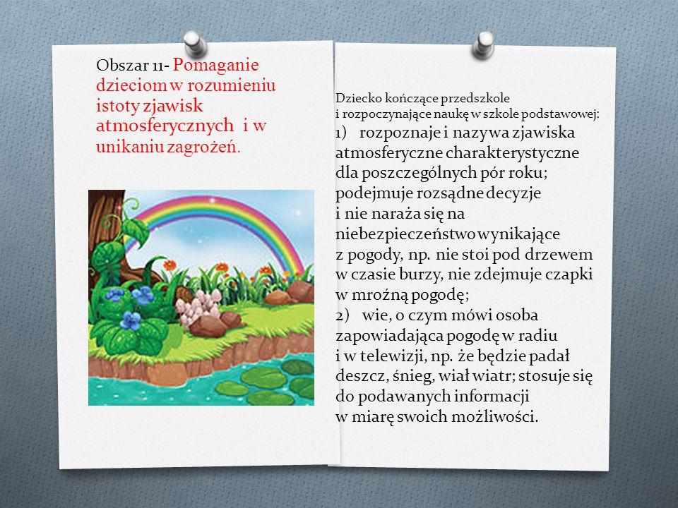 Obszar 11- Pomaganie dzieciom w rozumieniu istoty zjawisk atmosferycznych i w unikaniu zagrożeń.